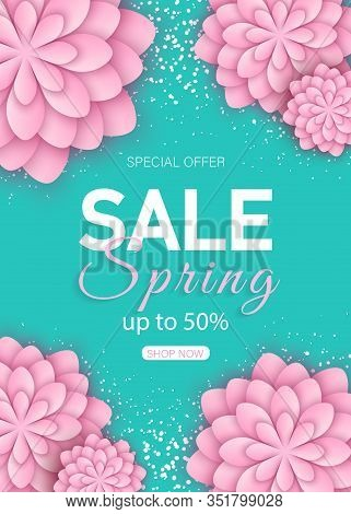 Spring sale floral banner with paper cut blooming pink cherry flowers on blue background for seasonal design of banner, flyer, poster, web site. Paper cut out art style, vector illustration. Spring, spring background, spring banners, spring flyer, spring
