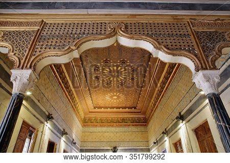 Tunis, Tunisia - December 31 2019: The Splendid Interior Of Dar Lasram Palace, A Well Preserved Mans