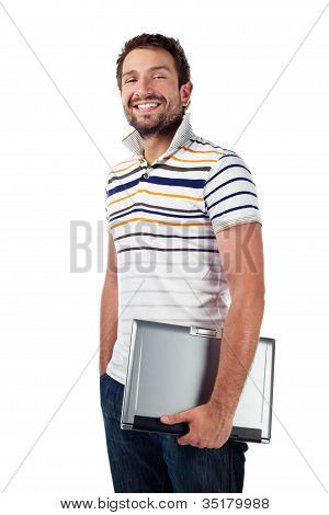 Male Student With Laptop Smiling