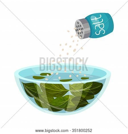 Dressing Salad With Salt Isolated On White Background Vector Illustration