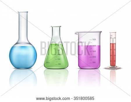 Laboratory Glassware 3d Realistic Set Isolated On White Background. Graduated Lab Tube, Beaker And F