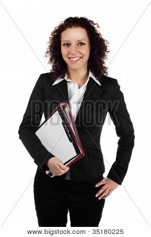 Young businesswoman isolated