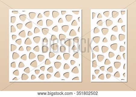 Decorative Panel For Laser Cutting. Cutout Silhouette With Abstract Geometric Pattern, Smooth Shapes