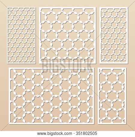 Laser Cut Panel Set. Elegant Vector Template With Abstract Geometric Pattern In Arabian Style, Ornam