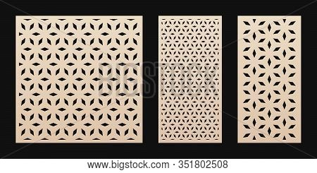Laser Cut Pattern. Vector Stencil With Abstract Floral Geometric Grid, Ornament In Asian Style. Deco