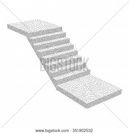 Stairs, Interior Staircases Steps. Dotwork Halftone Style Monochrome Gradient Vector Illustration.