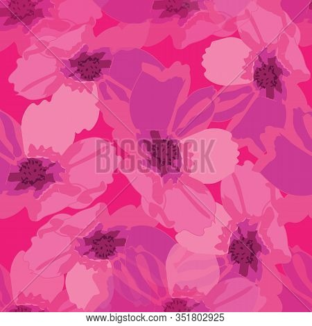 Cosmos Abstract-flowers In Bloom Seamless Repeat Pattern. Fresh Abstract Cosmos Flower Shapes Patter