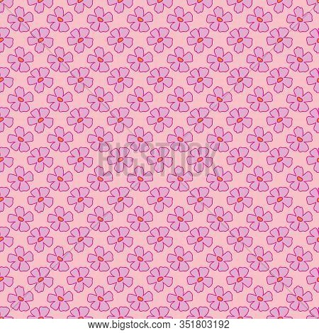 Ditzy Pink Flowers Background-flowers In Bloom, Seamless Repeat Pattern Flowers. Classic Floral Repe
