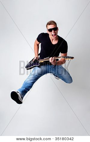 Rockstar Leap With Guitar