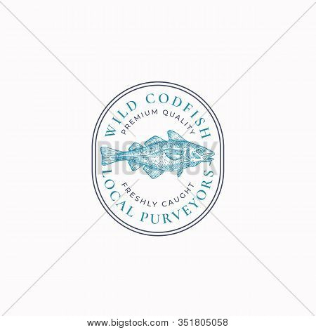 Fish Vintage Frame Badge Or Logo Template. Hand Drawn Wild Ocean Cod Fish Sketch Emblem With Retro T