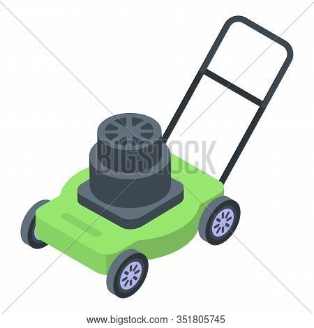 Lawn Mower Icon. Isometric Of Lawn Mower Vector Icon For Web Design Isolated On White Background