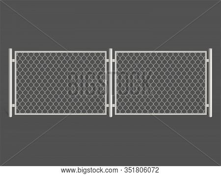 Wire Fence Isolated On Grey Background. Silver Colored Metal Chain Link Mesh. Two Segments Rabitz Ga
