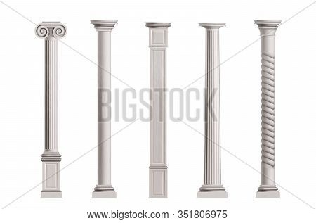 Cubic And Cylindrical Columns Of White Marble Stone With Smooth And Textured Surface 3d Realistic Il