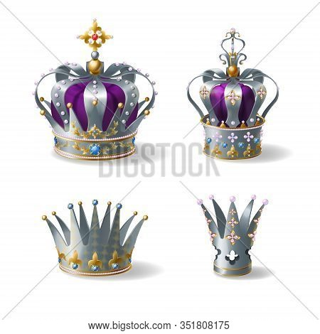 King, Queen Silver, Golden Or Platinum Crown Decorated With Gems And Pearls, Violet Silk, Velvet Rea