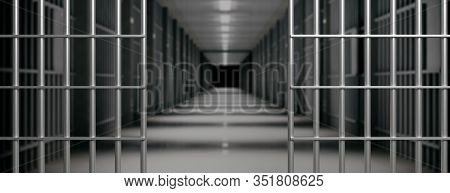 Prison Interior. Jail Cells And Shadows, Dark Background. 3D Illustration
