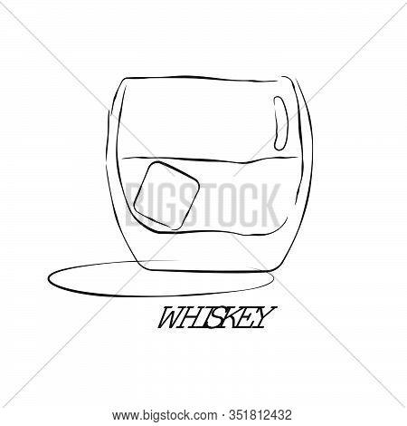 Shot Whiskey. Graphic Art. Drink Element. Black White. Retro Glass Whiskey Hand Draw, Design For Any