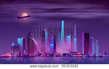 Modern Metropolis Night Landscape With Illuminated Vintage And Futuristic Architecture Buildings In
