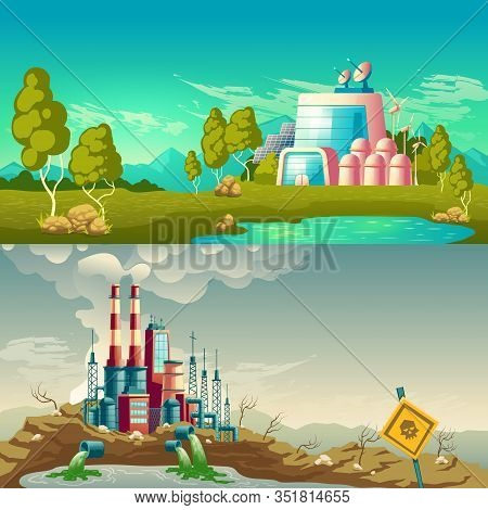 Future, Ecological Production And Modern, Polluting Environment Industrial Technology Cartoon Concep
