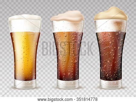 Beer Styles From Lager To Stout 3d Realistic Set. Fresh, Cold Beer Or Ale Poured In Glasses With Moi