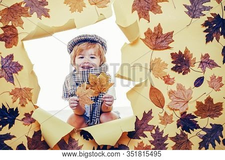 Smiling Little Boy Playing With Leaves And Looking At Camera. Sale For Entire Autumn Collection, Inc