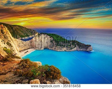 Shipwreck beach on Zakynthos Islandt sunset, Greece