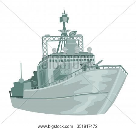 Russian Military Warship. Vector On White Isolated Background