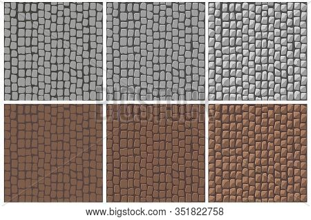 Set Of Seamless Cobblestone Paving Patterns To Improve.