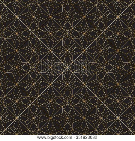 Golden Art Deco Seamless Pattern. Luxury Decorative Geometrical Ornament, Gold Geometric Shapes And