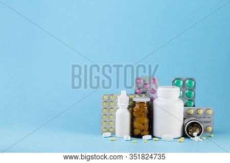 Pharmaceutical Medicament, Cure In Container For Health. Pharmacy Theme, Capsule Pills With Medicine