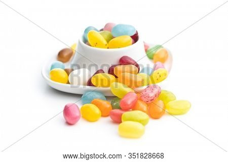 Fruity jellybeans. Tasty colorful jelly beans isolated on white background.