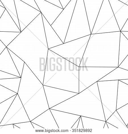 Black Geometric Lines Forms Triangles And Polygons, Background. Abstract Big And Small Crack Polygon