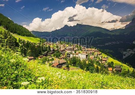 Murren Village In Switzerland. Traditional Swiss Landscape. Alps Mountains In Switzerland. Vacation