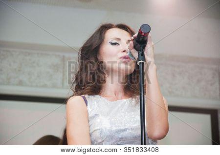 Loud Music In Nightclub. Vintage Microphone. Modern Music Styles. Singer In Front Of A Microphone. G