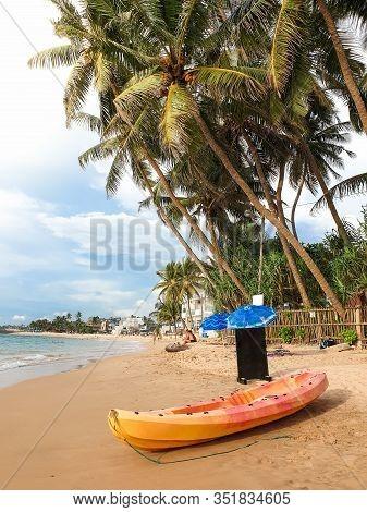 Beautiful Image Of Plastic Canoe Or Kayak Lying Under Big Palm Tree On The Ocean Beach