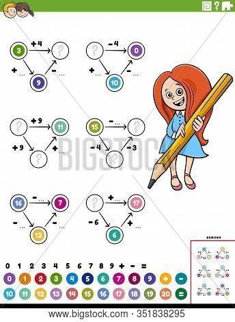 Cartoon Illustration Of Educational Mathematical Calculation Diagram Task For Children With Elementa