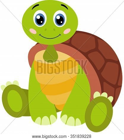 Scalable Vectorial Representing A Cute Turtle Sitting On Floor, Element For Design, Illustration Iso