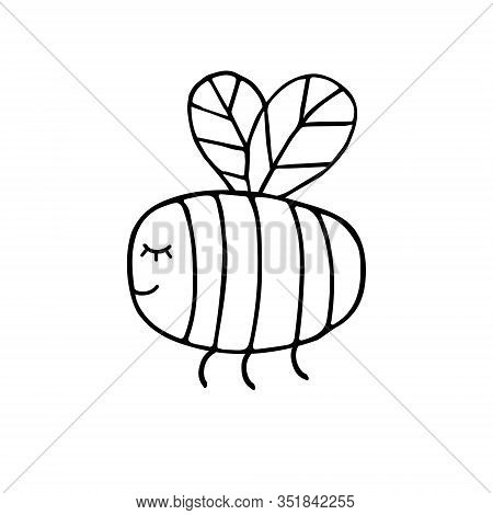 Vector Hand Drawn Doodle Sketch Black Bumblebee Bee Isolated On White Background
