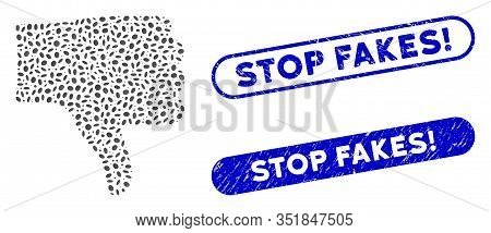 Mosaic Thumb Down And Rubber Stamp Watermarks With Stop Fakes Exclamation Caption. Mosaic Vector Thu