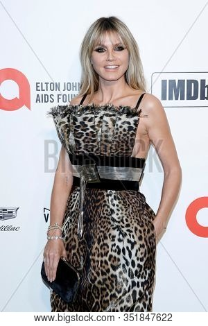 LOS ANGELES - FEB 9:  Heidi Klum at the 28th Elton John Aids Foundation Viewing Party at the West Hollywood Park on February 9, 2020 in West Hollywood, CA