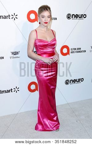 LOS ANGELES - FEB 9:  Sydney Sweeney at the 28th Elton John Aids Foundation Viewing Party at the West Hollywood Park on February 9, 2020 in West Hollywood, CA