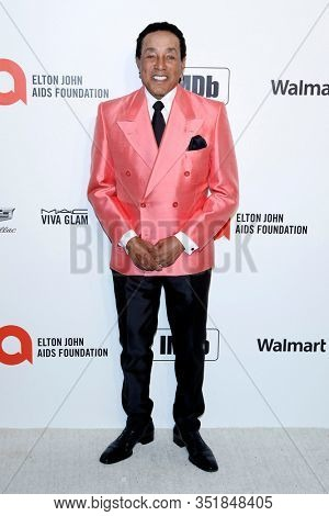 LOS ANGELES - FEB 9:  Smokey Robinson at the 28th Elton John Aids Foundation Viewing Party at the West Hollywood Park on February 9, 2020 in West Hollywood, CA