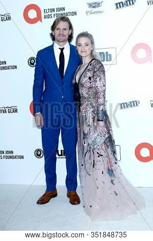 LOS ANGELES - FEB 9:  Josh Pence, AJ Michalka at the 28th Elton John Aids Foundation Viewing Party at the West Hollywood Park on February 9, 2020 in West Hollywood, CA