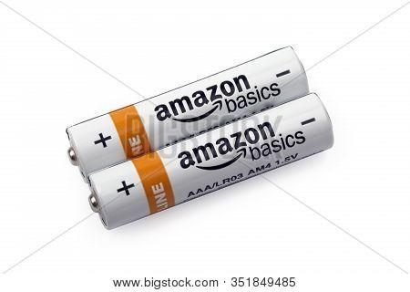 Hüttenberg, Germany - February  19, 2020: Two Amazonbasics  Aaa Batteries. Amazonbasics Is A Private