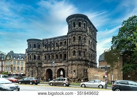 Trier, Germany - September 13  2019:  Porta- An Historic City Gate Built In The 2nd Century, It Is A