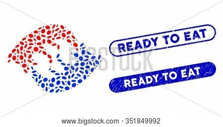 Mosaic Dog Eat Dog And Rubber Stamp Seals With Ready To Eat Text. Mosaic Vector Dog Eat Dog Is Compo
