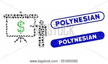 Mosaic Financial Education And Grunge Stamp Seals With Polynesian Text. Mosaic Vector Financial Educ