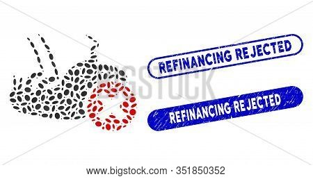 Mosaic Kill Flea And Distressed Stamp Seals With Refinancing Rejected Text. Mosaic Vector Kill Flea