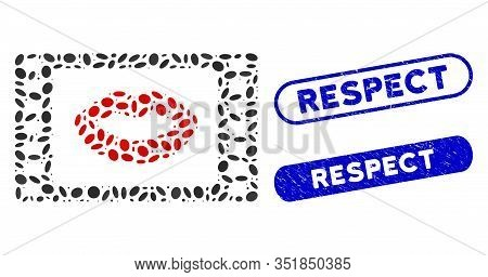 Mosaic Love Story Movie And Distressed Stamp Seals With Respect Caption. Mosaic Vector Love Story Mo