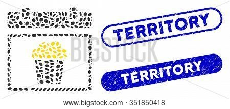 Collage National Popcorn Day And Distressed Stamp Seals With Territory Phrase. Mosaic Vector Nationa