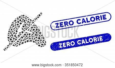 Mosaic No Meat And Grunge Stamp Watermarks With Zero Calorie Phrase. Mosaic Vector No Meat Is Create